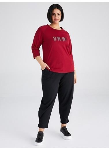 Faik Sönmez  Slogan Detaylı Kısa Kol T-Shirt 61820 Bordo
